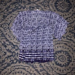 Tops - Blue and White Patterned Blouse
